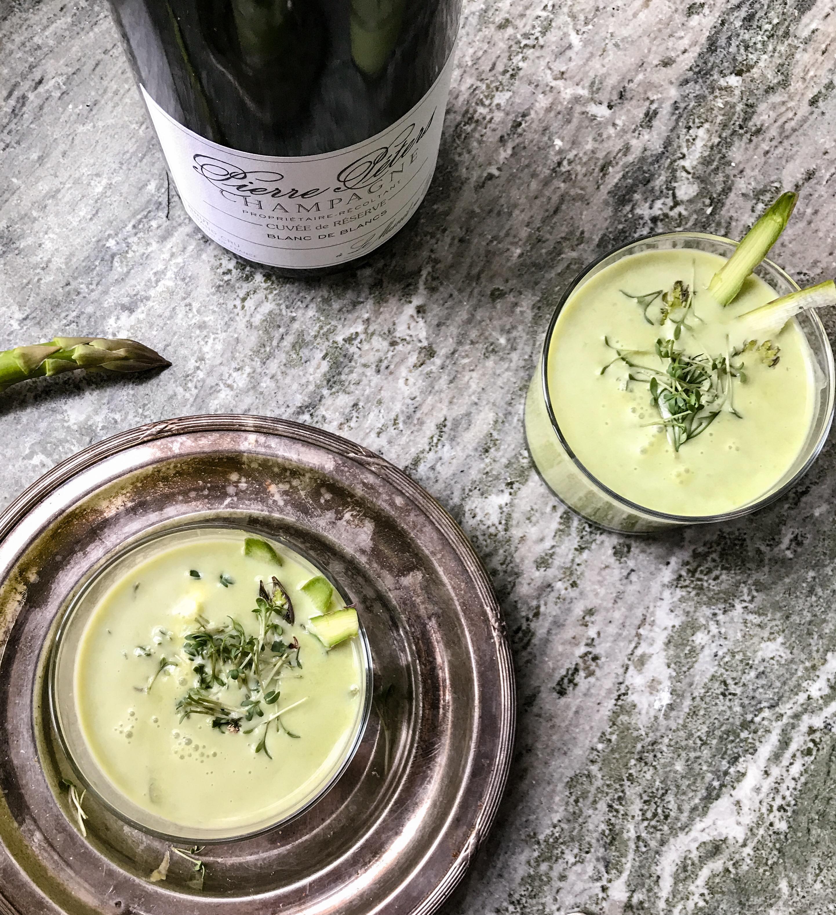 grön ärtsoppa champagne